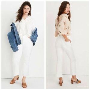 Madewell Cali Demi Boot Cut Raw Hem White Jeans 28